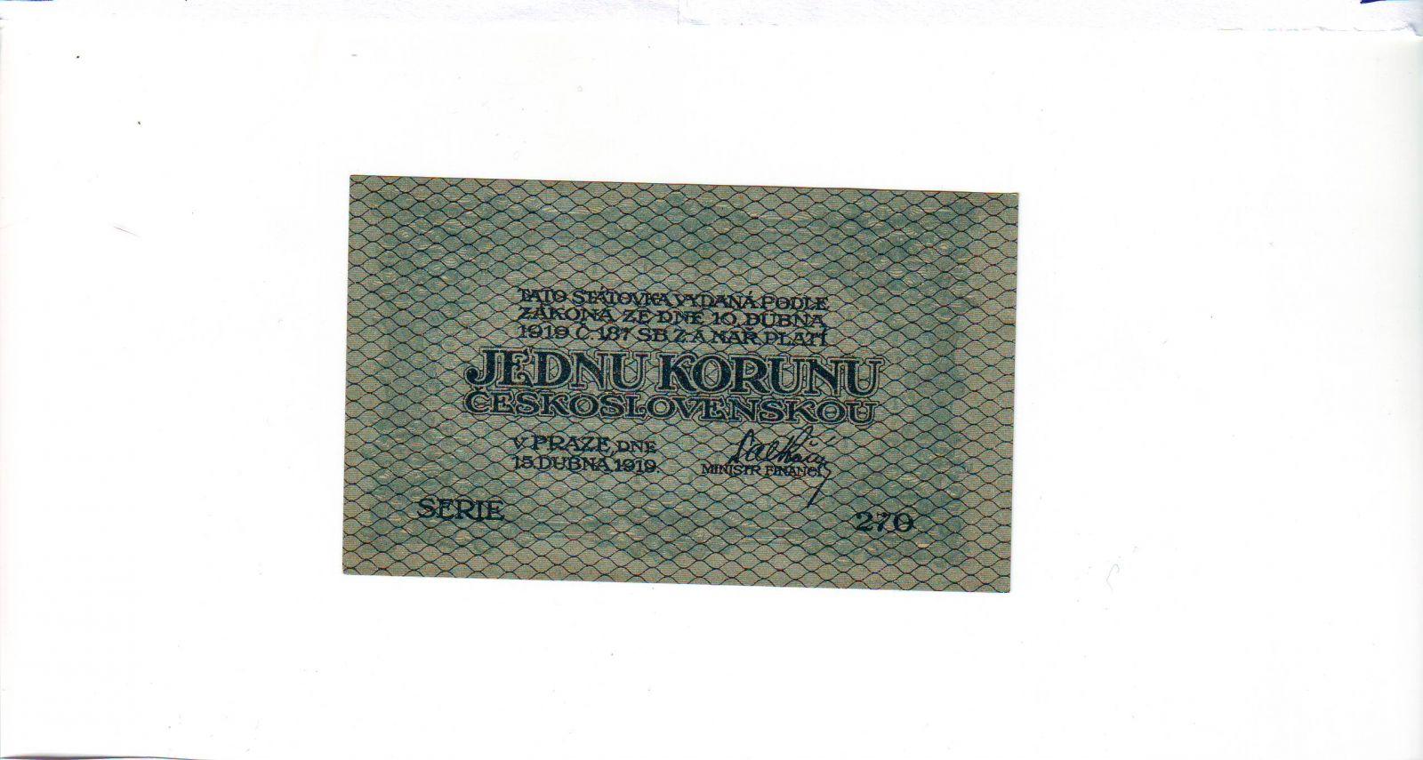 1Kč/1919/, stav UNC, série 270, zelená