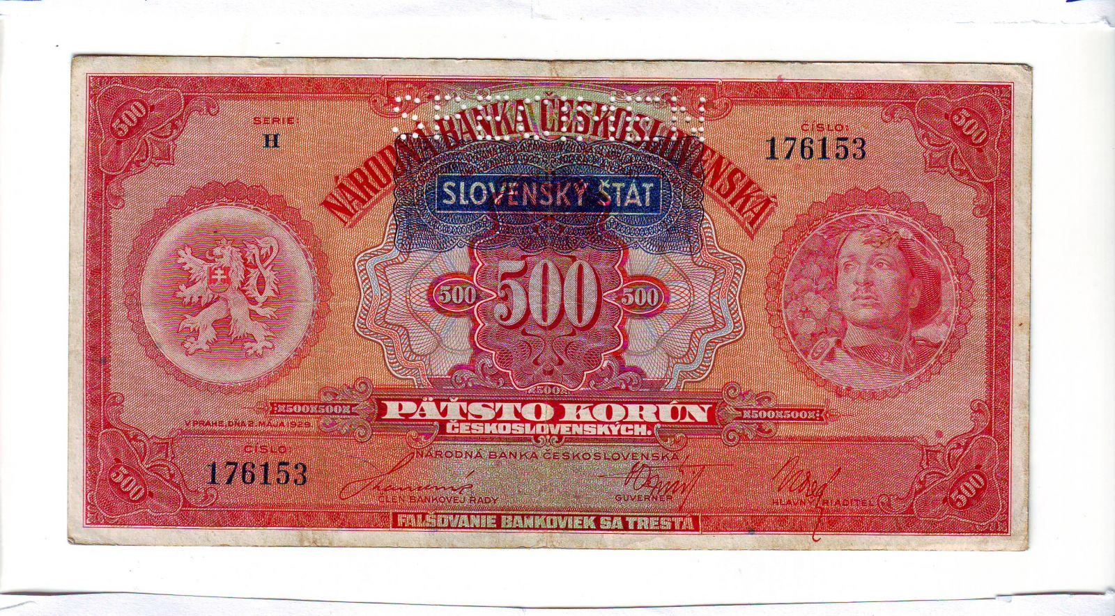 500Ks/1929-39, přetisk Slovenský Štát/, stav 2- perf. SPECIMEN, série H