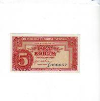 5Kčs/1945-bl/, stav UNC perf. 3md, série UZ