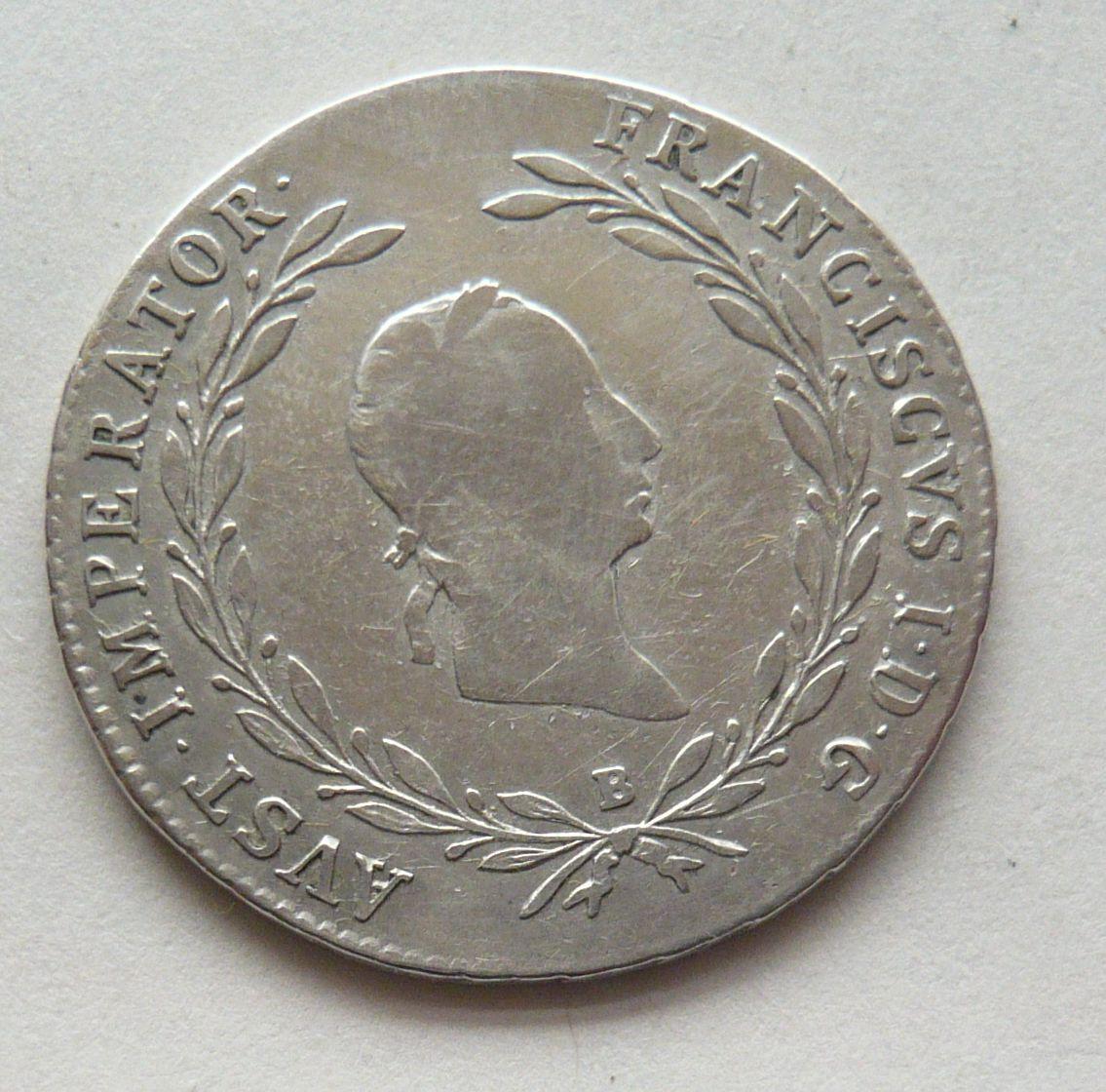 Uhry 20 Krejcar znak 1826 B František II.