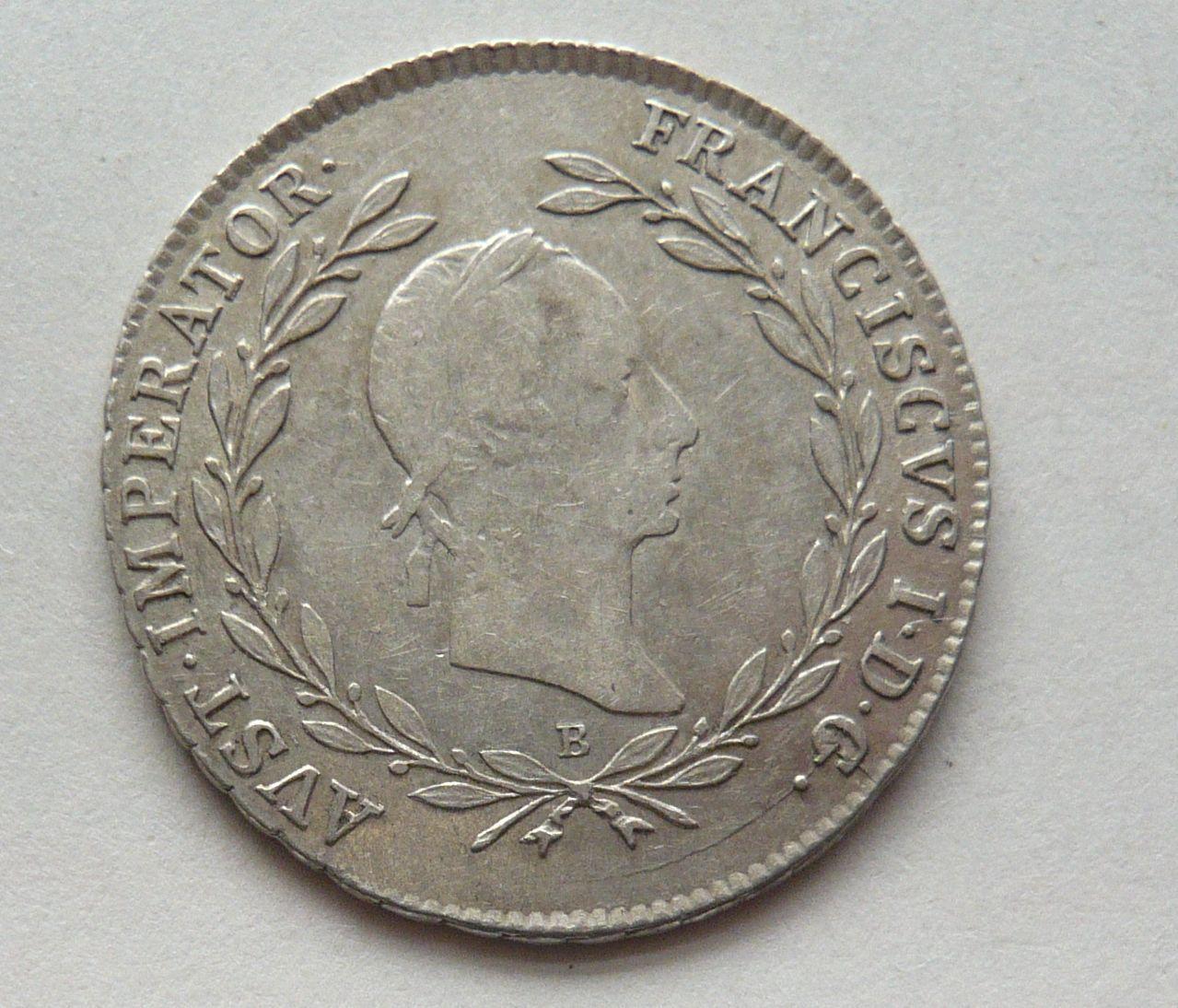 Uhry 20 Krejcar znak 1830 B František II.