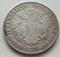 Uhry 20 Krejcar znak 1833 B František II.