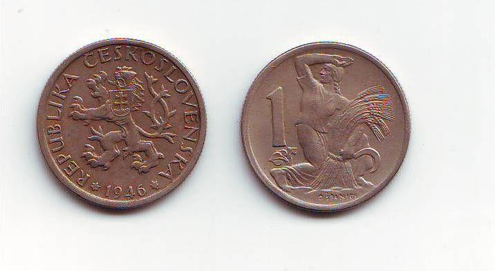 1 Kčs(1946-CuNi), stav 1+/1+