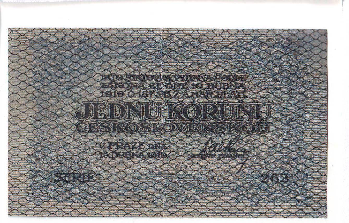 1Kč/1919/, stav 1+, série 262, modrozelená