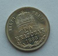 Uhry 20 Krejcar 1868 KB - Ag novoražba