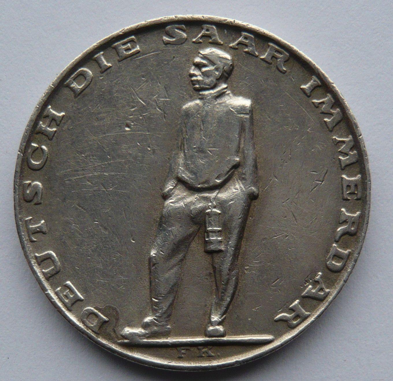 Německo III.říše medaile na připojení Sárska Ag 1935