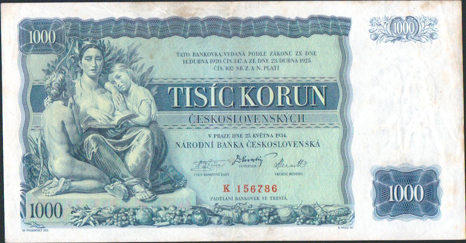 1000Kč/1934/, stav 2, série K