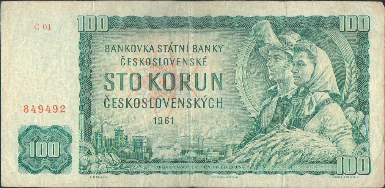 100Kčs/1961/, stav 3-, vzácná série C 01