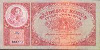 50Kč/1929/, stav UNC, série Sb