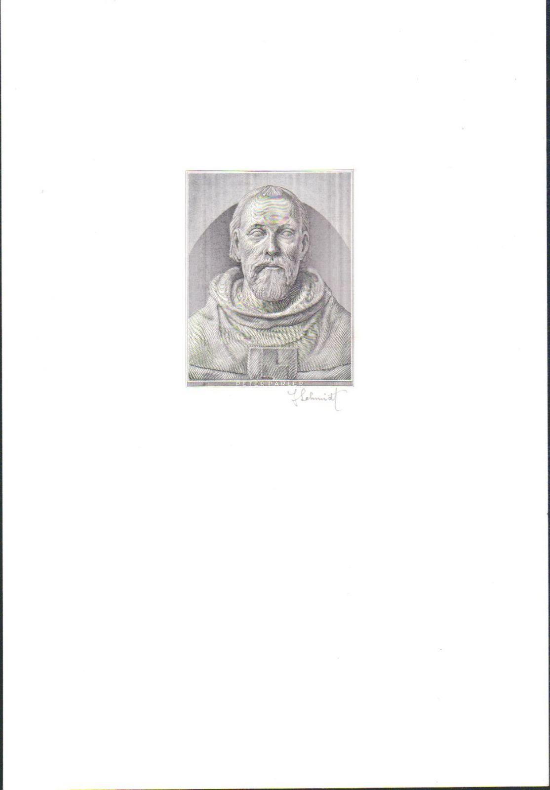Černotisk Petr Parléř (motiv protektorátní 1000K 1942), hlubotisk, stav UNC, podpis J. Schmidt