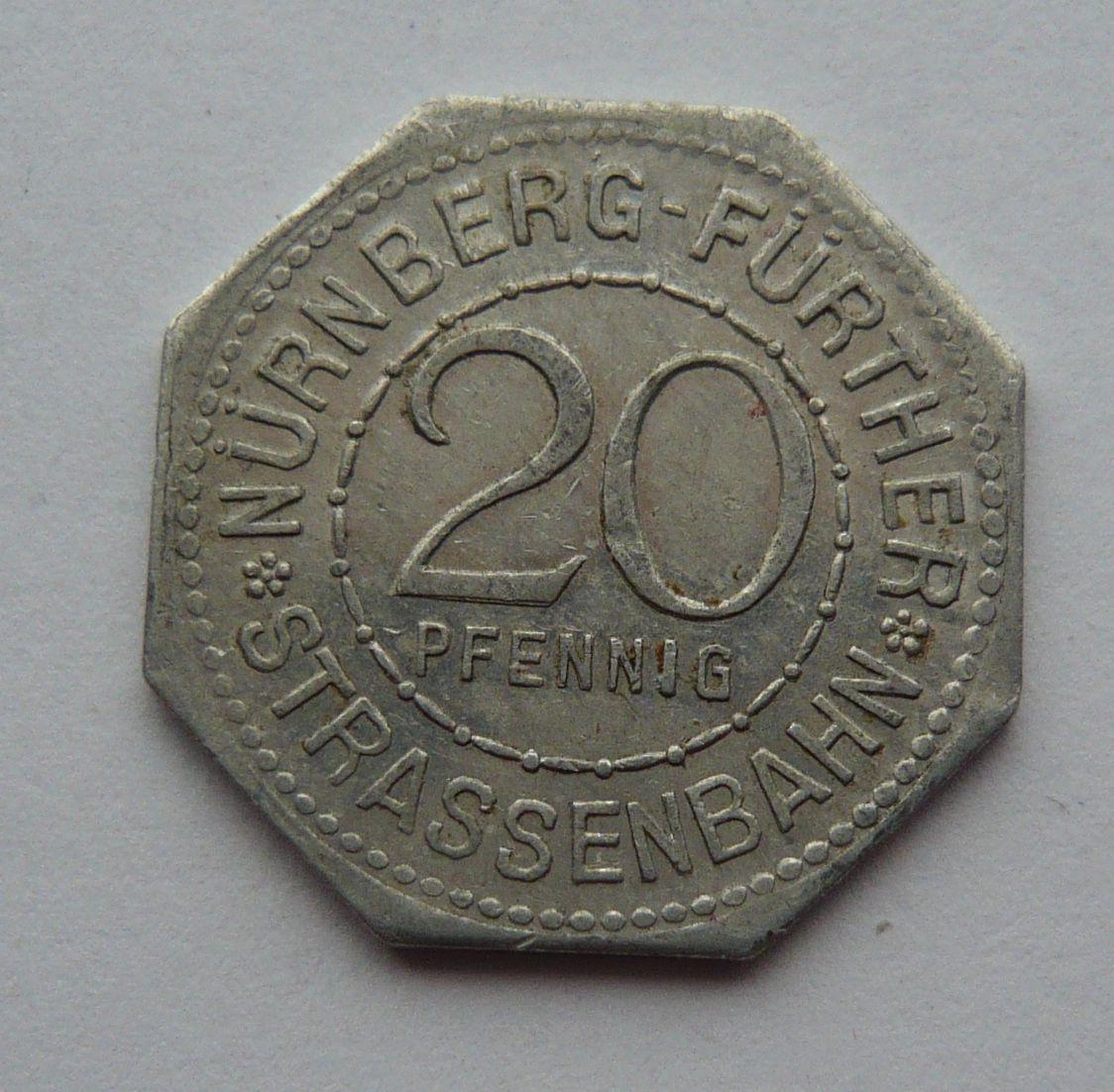 Nürnberg 20 Pf nouzovka bez let.
