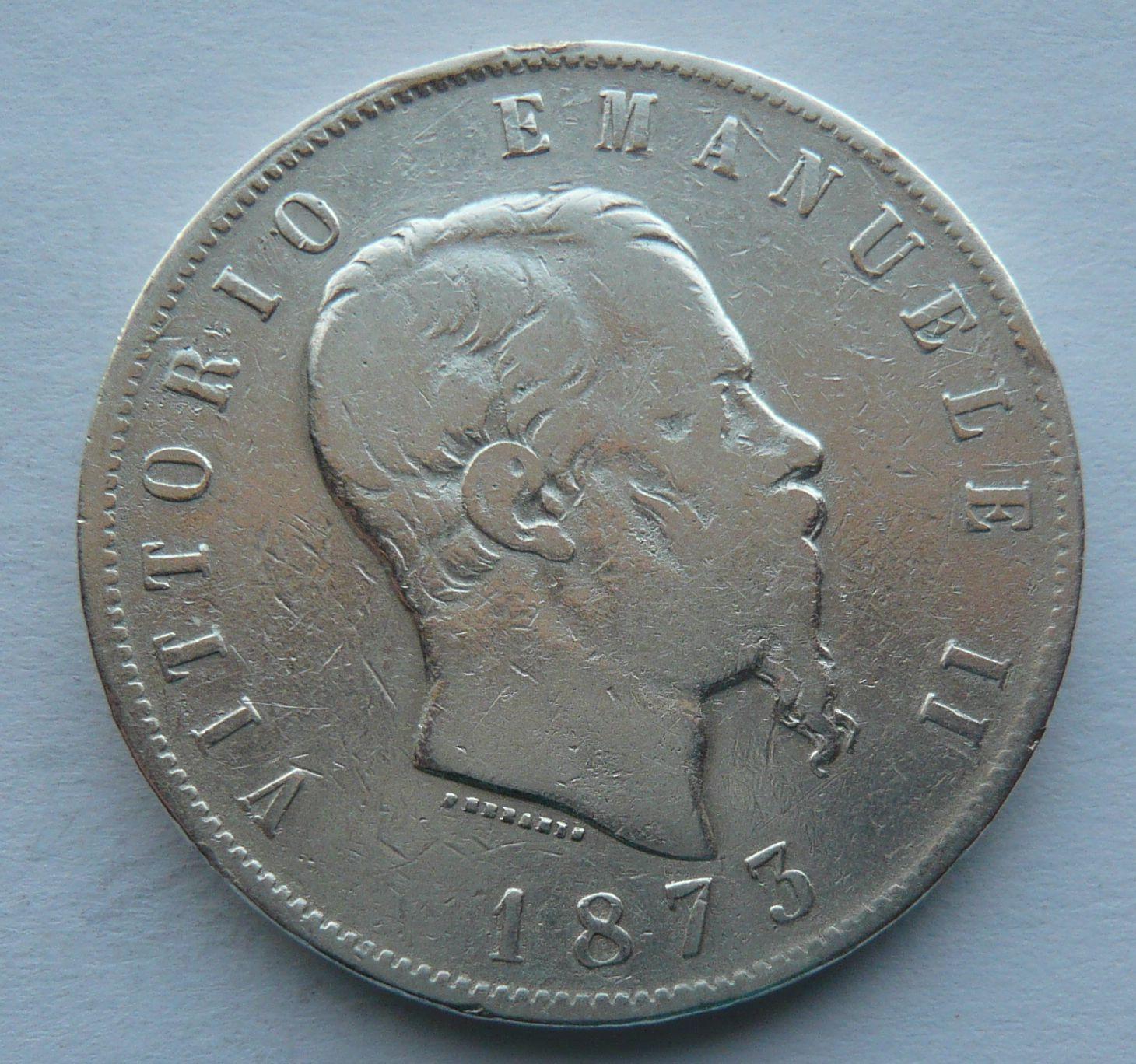 Itálie 5 Lir 1873 Vik. Emanuel
