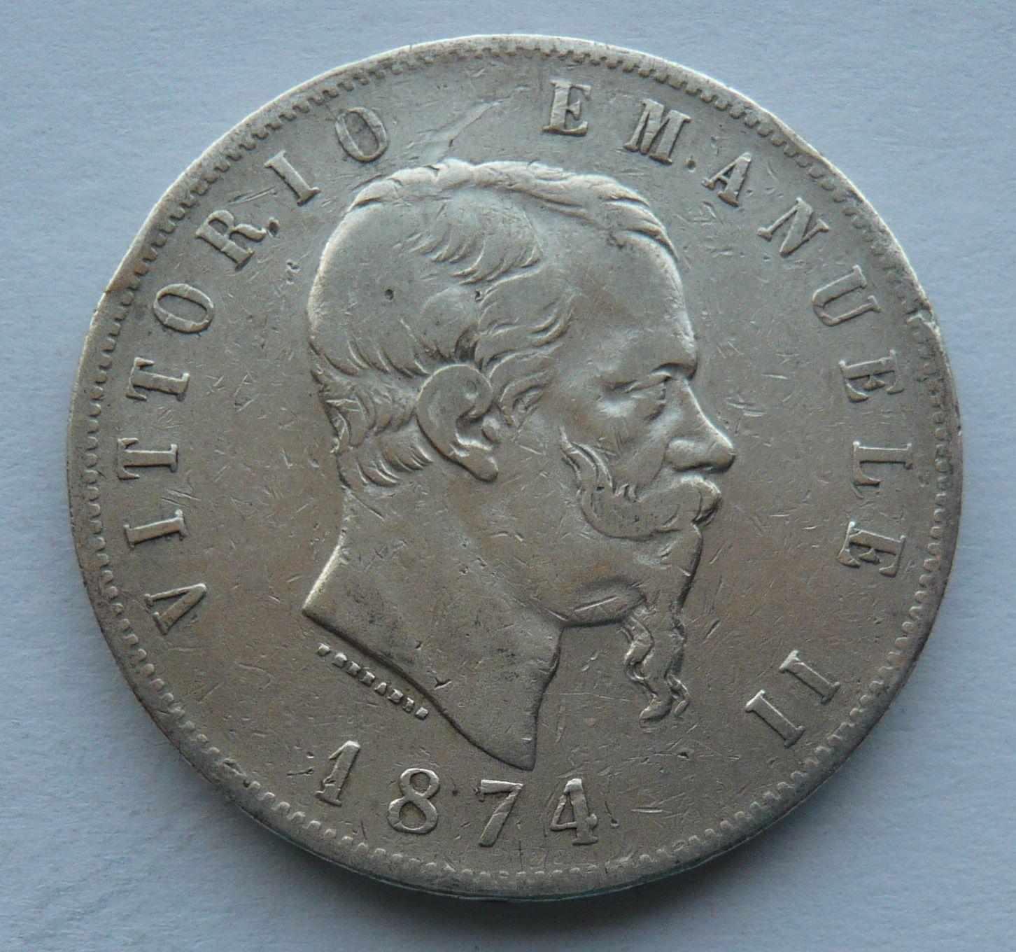 Itálie 5 Lir 1874 Vik. Emanuel