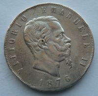 Itálie 5 Lir 1876 Vik. Emanuel