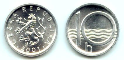 10 Haléř(1993HM+BIJ,94,95,96,97,98,99,2000, 01 a 02), stav 1/ 2, 11 kusů!