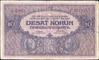 10Kč/1919/, stav 3- sv. dr.n., série O 047