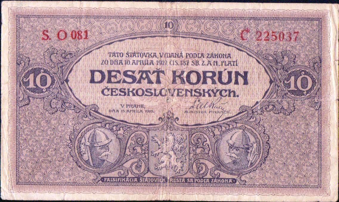 10Kč/1919/, stav 3- sv., série O 081