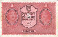 5Kč/1919/, stav 1+, série 0007