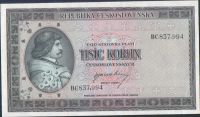 1000Kčs/1945-bl/, stav UNC perf. 3md, série BC