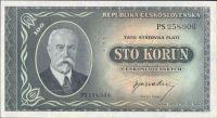 100Kčs/1945-bl/, stav UNC perf. 3md, série PS