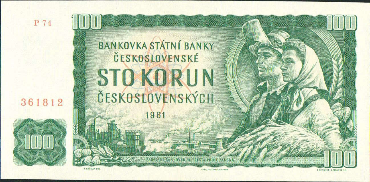 100Kčs/1961/, stav UNC, série P 74
