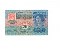 20Kč/1913-19, kolek ČSR/, stav 1, série 2358