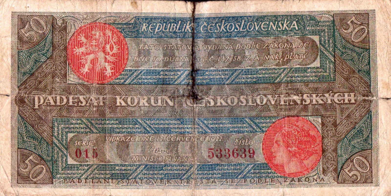 50Kč/1922/, stav 4, série 015