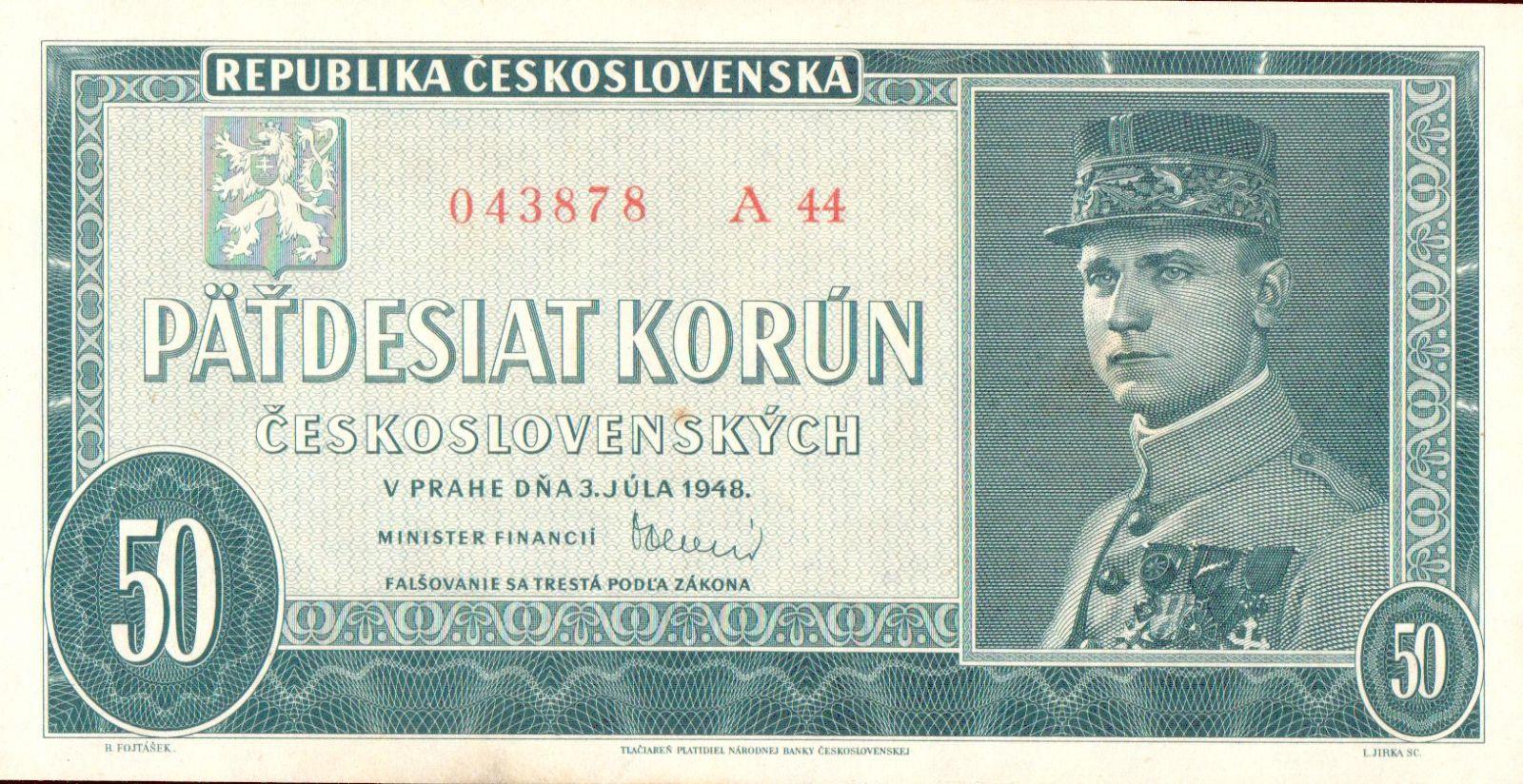 50Kčs/1948/, stav 0, série A 44