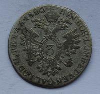 Uhry 3 Krejcar 1820 B František II.