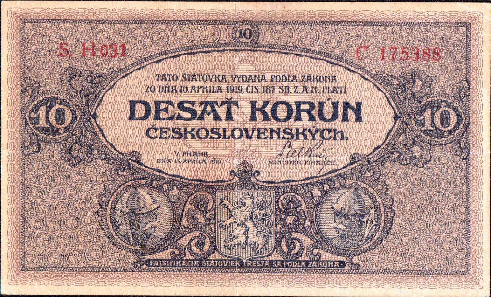 10Kč/1919/, stav 2+, vzácná série H 031