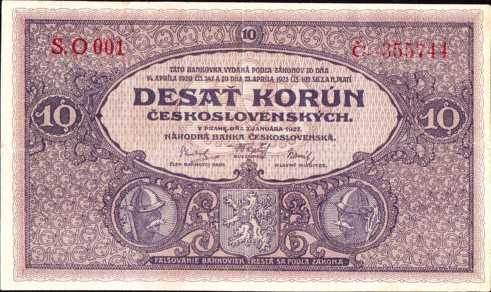 10Kč/1927/, stav 2, velmi vzácná série O 001