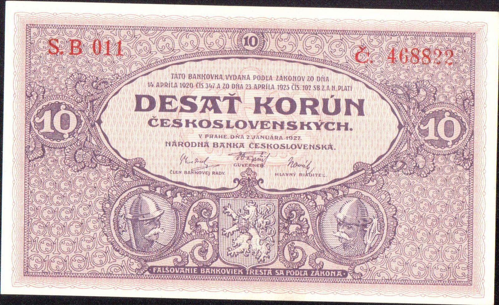 10Kč/1927/, stav UNC, série B 011