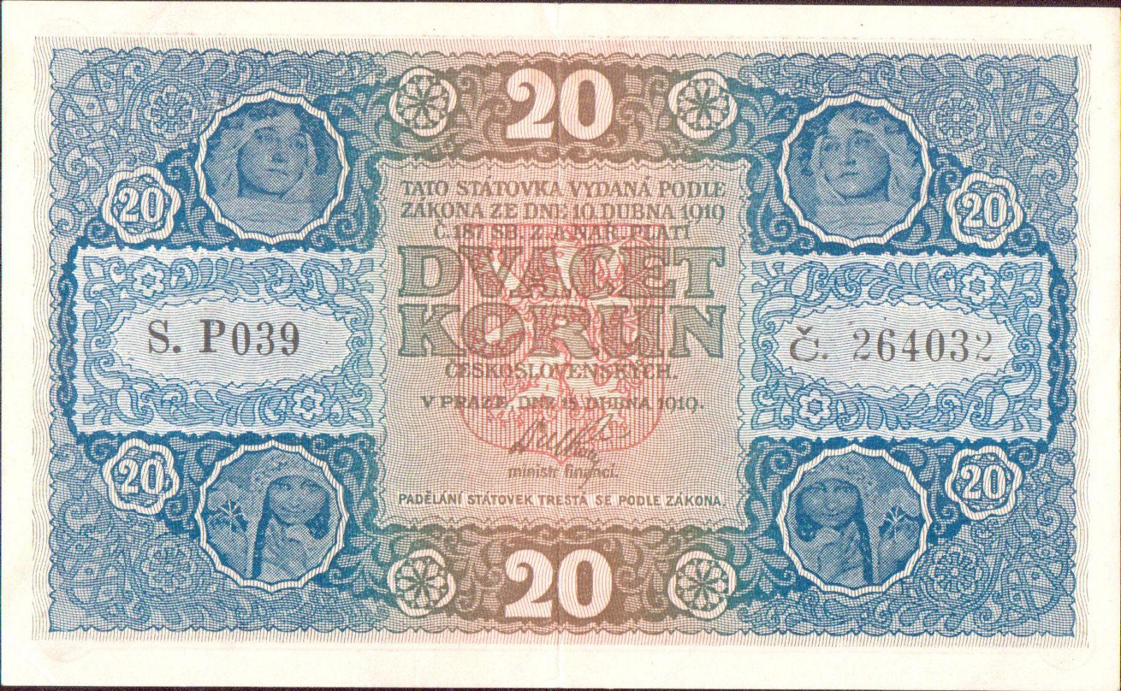 20Kč/1919/, stav 1+, série P 039
