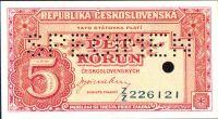 5Kčs/1945-bl/, stav UNC perf. SPECIMEN + otvor 5mm, série ZZ - bankovní vzor