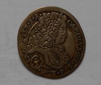 Čechy-Kutná Hora 3 Krejcar 1714BW Karel VI.