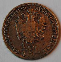 Rakousko 1/4 Fl NAPODOBENINA 1859 STEJNÝ LÍC I RUB
