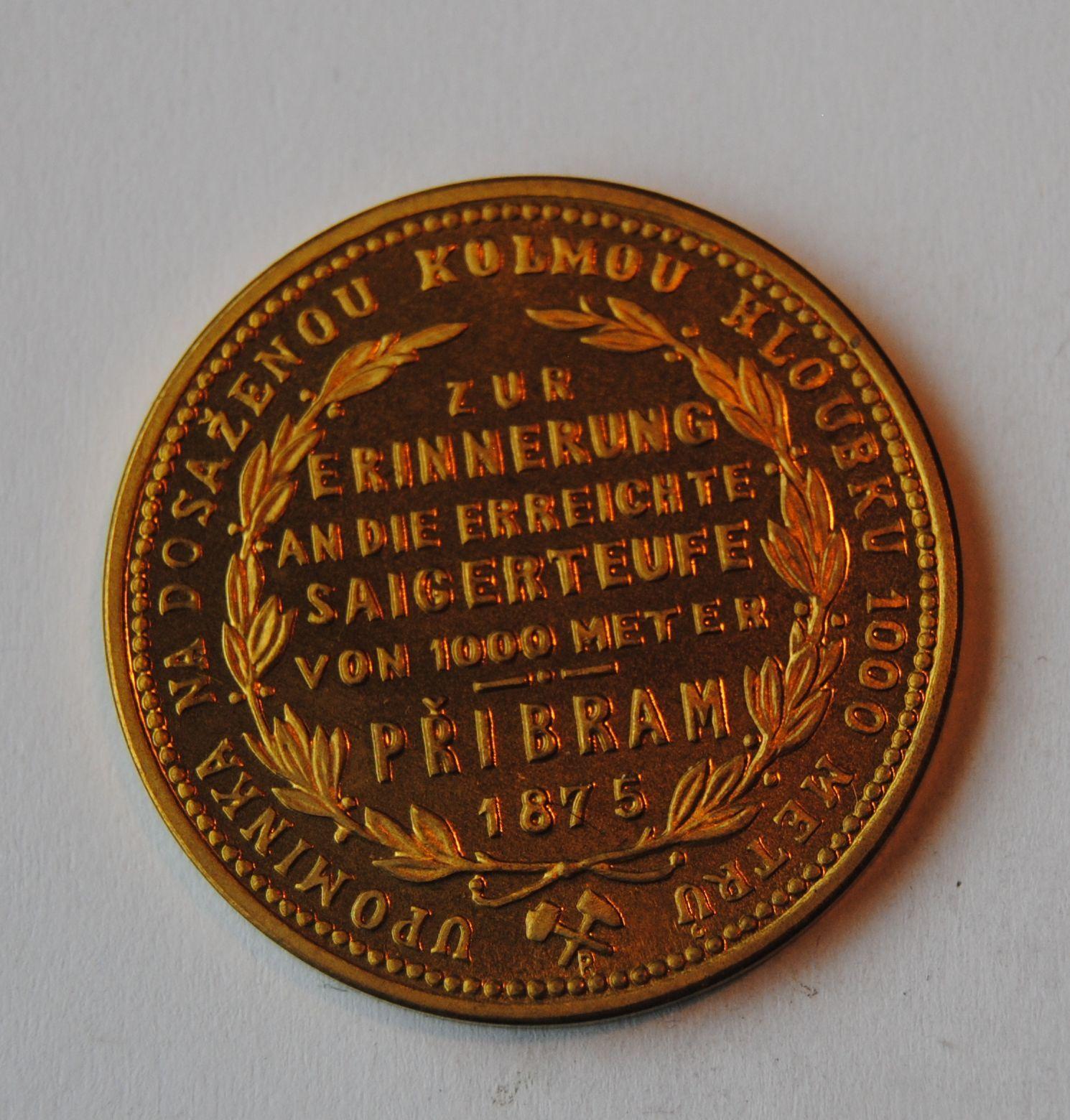 Rakousko 1 Fl zlacený Příbramský 1875 - novoražba