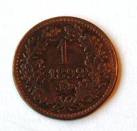 Uhry 1 Krejcar 1892 KB