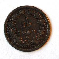 Uhry 5/10 Krejcar 1864 B STAV