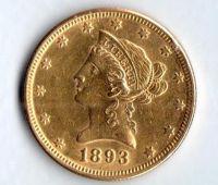 10 Dollars(1893-Au 900-16,72g), stav 1/0 dr.hr.