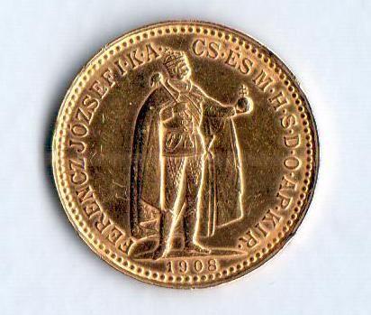 10 Koruna(1908-Au 900-3,4g-ražba KB), stav 1+/0 dr.hr.