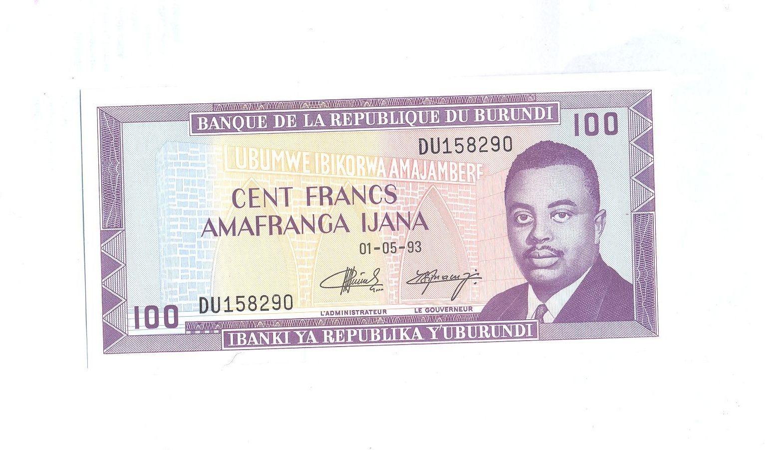 100 Frank, 1993, Burundi