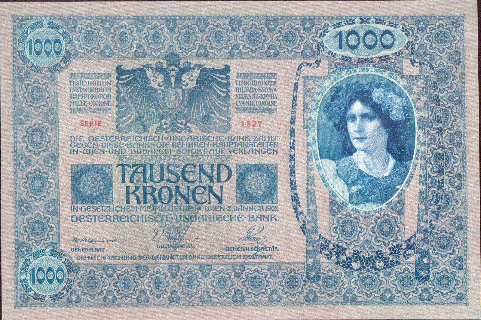 1000K/1902/, stav UNC, růžový podtisk