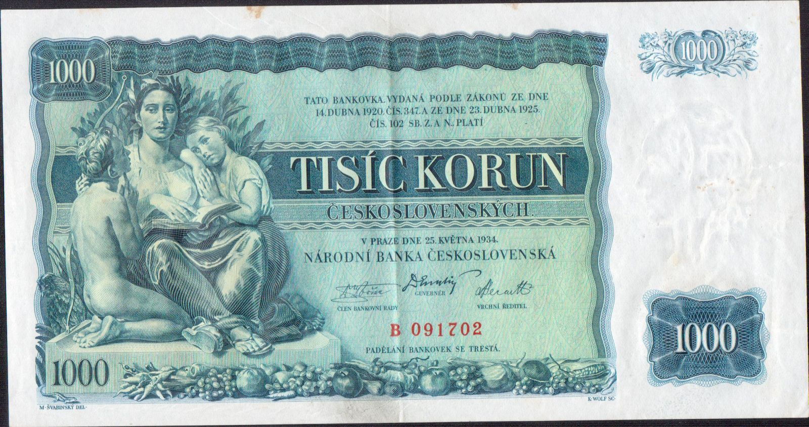 1000Kč/1934/, stav 1-, série B