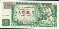 100Kč/1961-93, kolek ČR/, stav UNC, série G