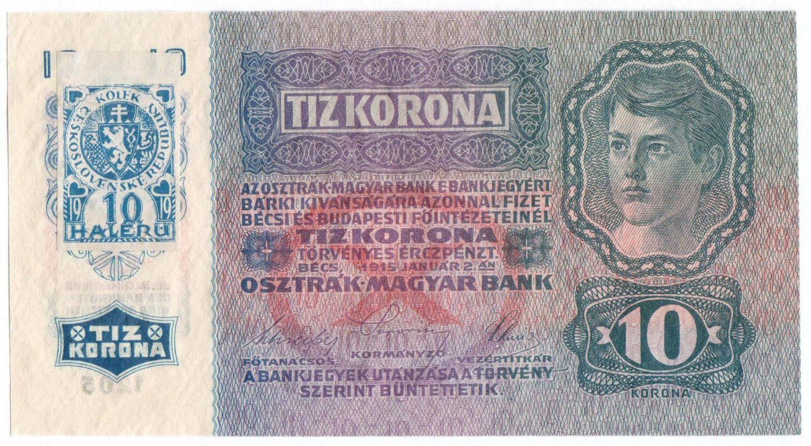 10Kč/1915-18, kolek ČSR/, stav UNC, série 1205