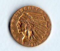 """2,5 Dollars """"Indiánská hlava""""(1911-Au 900-4,18g), stav 1/1+"""