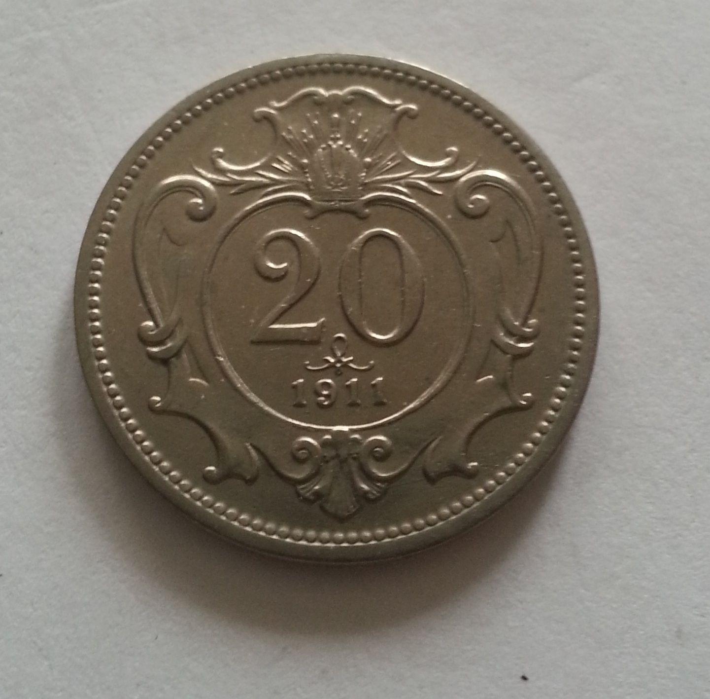 20 Haléř, 1911, Rakousko