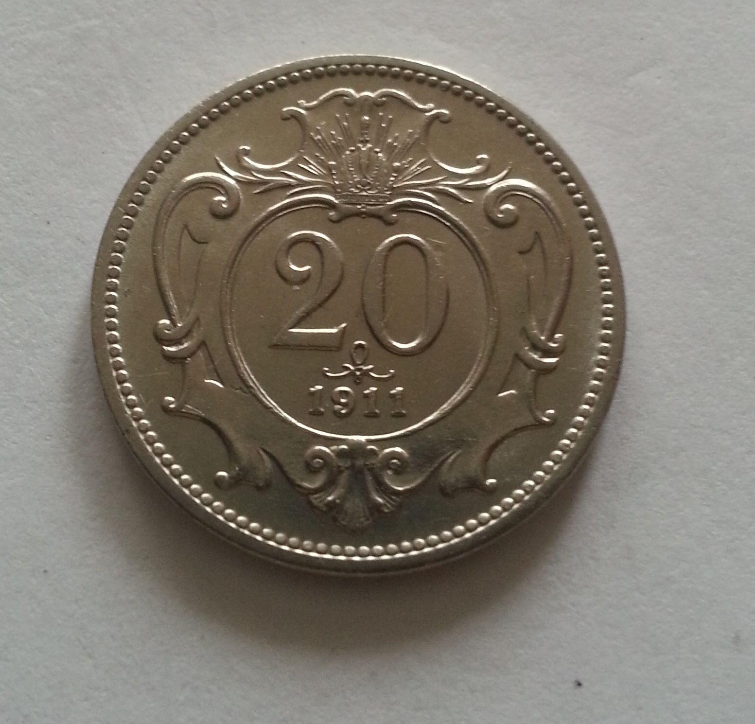 20 Haléř, 1911, Rakousko STAV