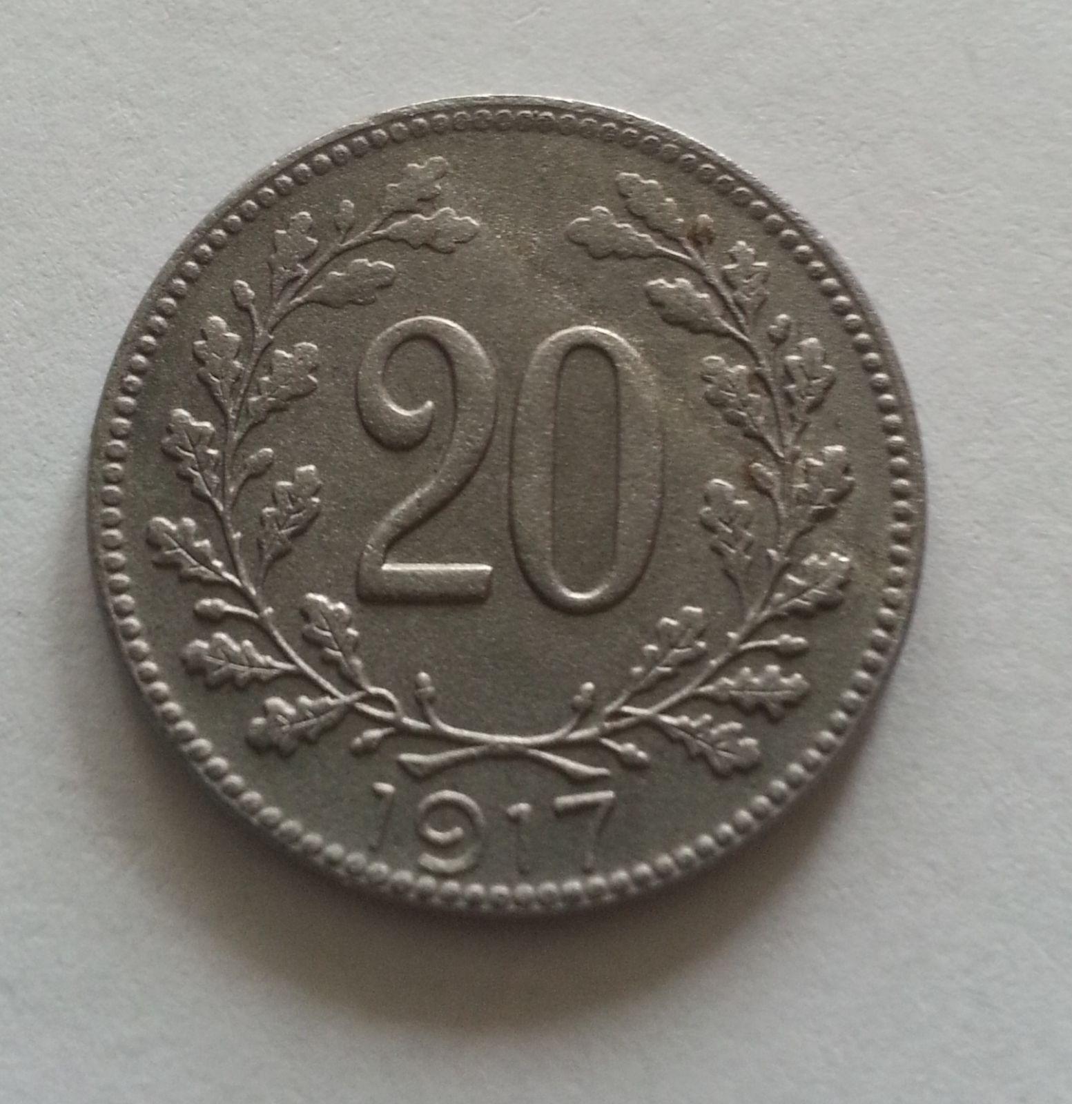 20 Haléř, 1917, Rakousko